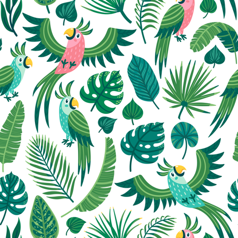 Parrots in the jungle. Medium scale fabric by magicforestory on Spoonflower - custom fabric