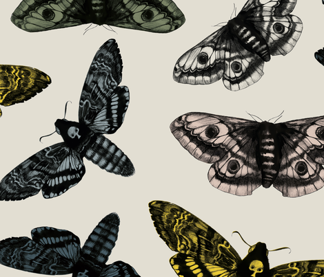 scattered moths grey no logo fabric by ink_paper_co on Spoonflower - custom fabric