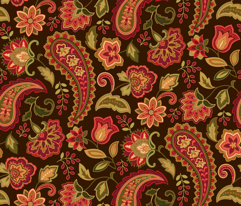 Paisley Paradise Red fabric by barbarapixton on Spoonflower - custom fabric