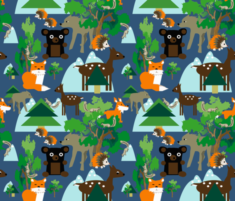 Coyote with friends 3 fabric by lorloves_design on Spoonflower - custom fabric