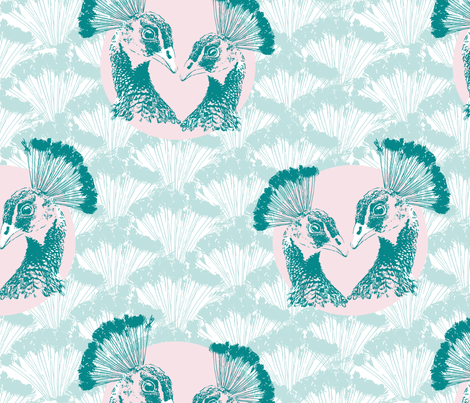 Peacock Couple Pastell fabric by mara_designs on Spoonflower - custom fabric
