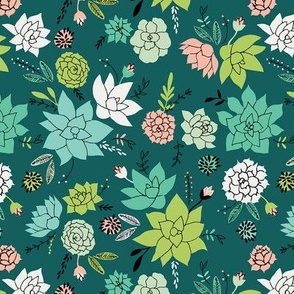 Succulents hero print in dark green - small