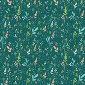 Tossed leaves in dark green