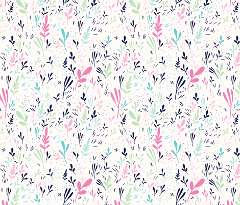 Tossed leaves in pink fabric by tatiabaurre on Spoonflower - custom fabric