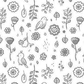 Tiny Bird Garden - Gray