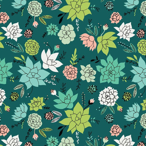 Succulents hero print in dark green