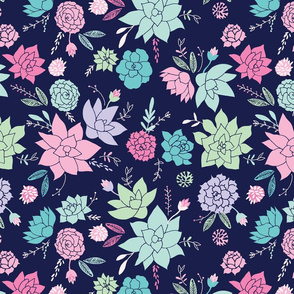 Succulents hero print in purple