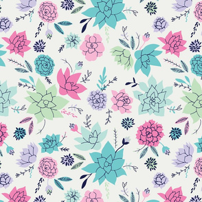 Succulents  print in pink