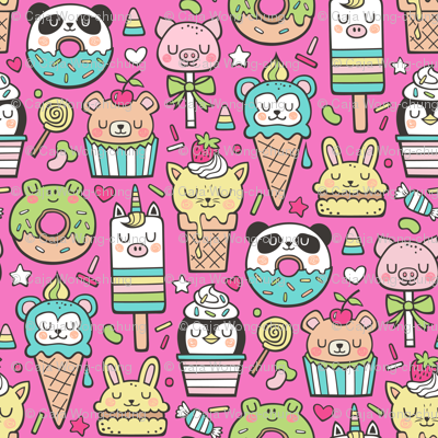 Animals Sweets Candy Ice Cream & Donuts on Dark Pink