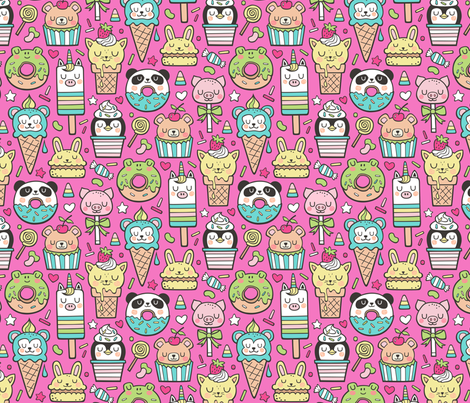 Animals Sweets Candy Ice Cream & Donuts on Dark Pink fabric by caja_design on Spoonflower - custom fabric