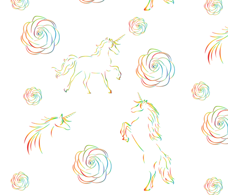 Rainbow Unicorns fabric by candytrickster on Spoonflower - custom fabric
