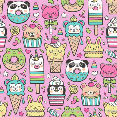 Animals Sweets Candy Ice Cream & Donuts on Magenta Pink