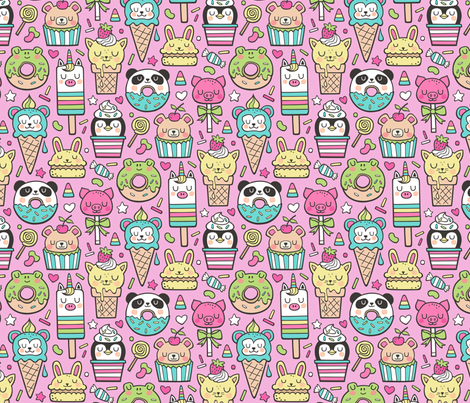 Animals Sweets Candy Ice Cream & Donuts on Magenta Pink fabric by caja_design on Spoonflower - custom fabric