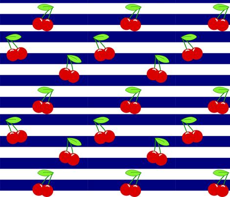 Cherry Stripe Navy fabric by raline on Spoonflower - custom fabric
