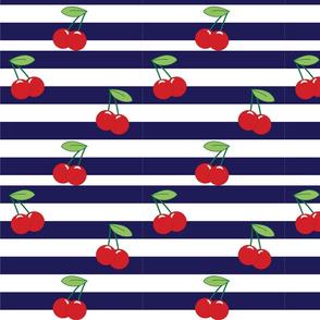 Cherry Stripe Navy