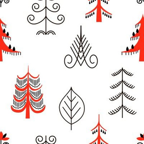 Six red trees seamless pattern. National scandinavian paintings. Folk handicrafts. Enchanting original ornaments. Simplicity. flat
