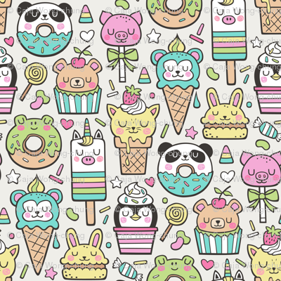 Animals Sweets Candy Ice Cream & Donuts on Cloud Grey