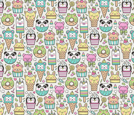 Animals Sweets Candy Ice Cream & Donuts on Cloud Grey fabric by caja_design on Spoonflower - custom fabric