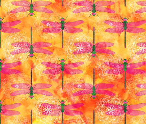 Watercolor Dragonfly Mandala fabric by wickedrefined on Spoonflower - custom fabric