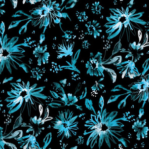 Lovely floral black and turquiose