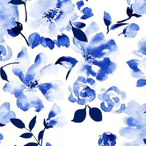 indigo watercolor floral