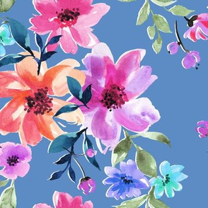 floral chat on blue