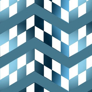 Blue Gradient Checkerboard Chevrons