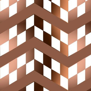 Brown Gradient Checkerboard Chevrons
