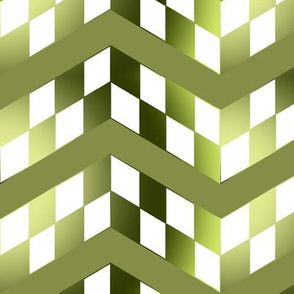 Yellow Green Gradient Checkerboard Chevrons
