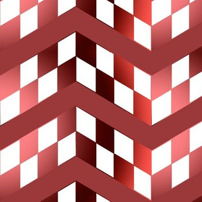 Red Gradient Checkerboard Chevrons