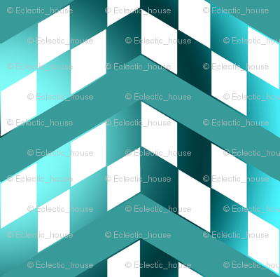 Blue Green Gradient Checkerboard Chevrons
