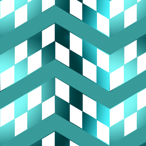 Blue Green Gradient Checkerboard Chevrons fabric by eclectic_house on Spoonflower - custom fabric