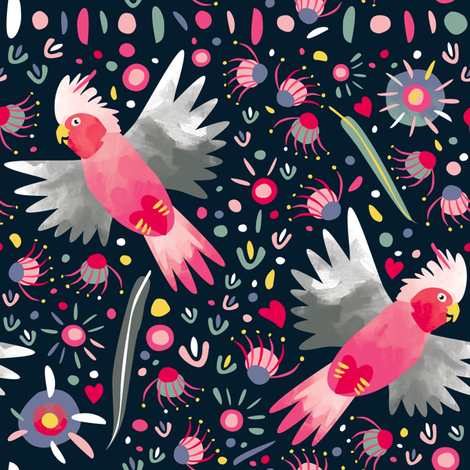Galahs flying by Mount Vic and Me fabric by mountvicandme on Spoonflower - custom fabric