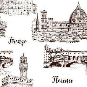 Set of Florence symbols. Duomo Santa maria del fiore, Palazzo Vecchio or Palazzo della Signoria