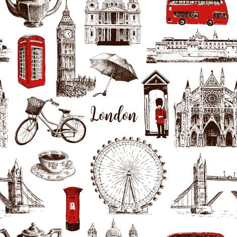 London architectural symbols hand drawn  pattern sketch. Big Ben, Tower Bridge, red bus, mail box, call box, guardsman fabric by everilda on Spoonflower - custom fabric