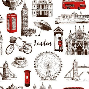 London architectural symbols hand drawn  pattern sketch. Big Ben, Tower Bridge, red bus, mail box, call box, guardsman