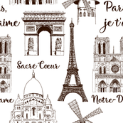 Paris sightseeing pattern. Eiffel tower, Arc de Triomphe, Basilica France. hand drawn sketch