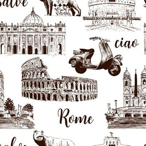 Rome sightseeing pattern. Cityscape  architectural symbols