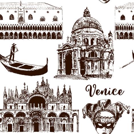 Venice architectural symbols seamless pattern vector set: Carnival mask, palazzo, basilica, San Marco, gondola. sketch fabric by everilda on Spoonflower - custom fabric