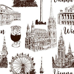 Set of Vienna symbols seamless pattern vector set. Donauturm, Stephansdom, Rathaus, Prater, Vienna State Opera House.