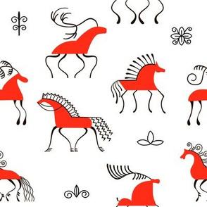 Six red horses seamless pattern. National scandinavian paintings. Folk handicrafts. Enchanting original ornaments.