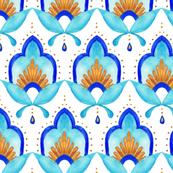 Hand Painted Moroccan Detail - Aqua
