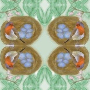 Robin in Nest with Blue Eggs