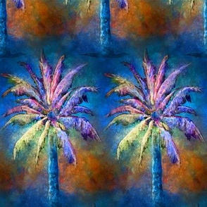 WATERCOLOR PALM TREE ALTERNATED ROWS BLUE BROWN