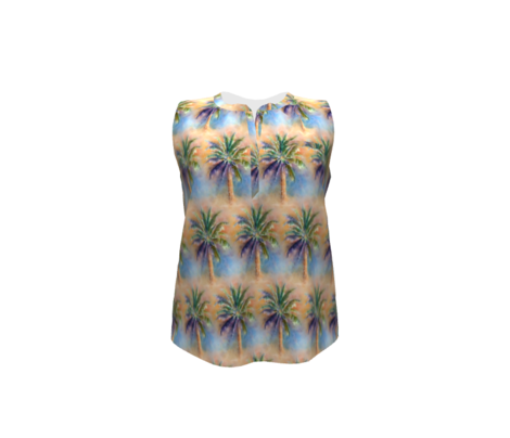 WATERCOLOR PALM TREE ALTERNATED ROWS NATURAL