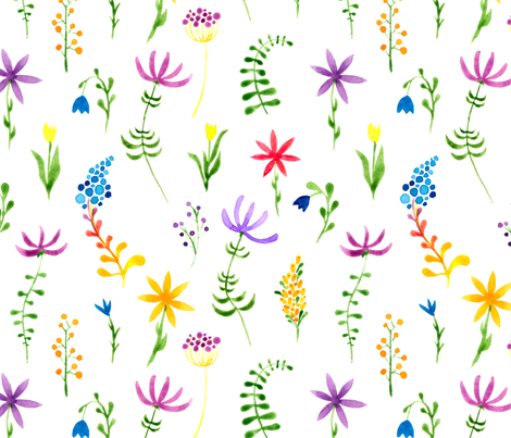 1960s hippie floral pattern. Watercolor hand painted repeated pattern.  Tiny sensitive watercolor flowers.  fabric by doozydo on Spoonflower - custom fabric