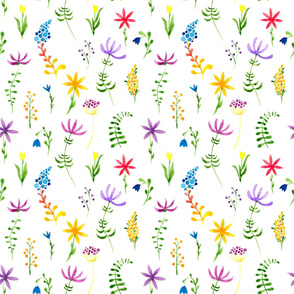 1960s hippie floral pattern. Watercolor hand painted repeated pattern.  Tiny sensitive watercolor flowers.