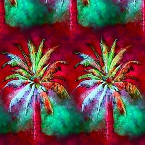 WATERCOLOR PALM TREE ALTERNATED ROWS  RASPBERRY RED MINT GREEN
