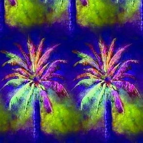 WATERCOLOR PALM TREE ALTERNATED ROWS VIOLET PURPLE GREEN