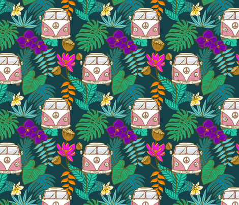 Pink Tropical Kombi - Teal fabric by colourcult on Spoonflower - custom fabric